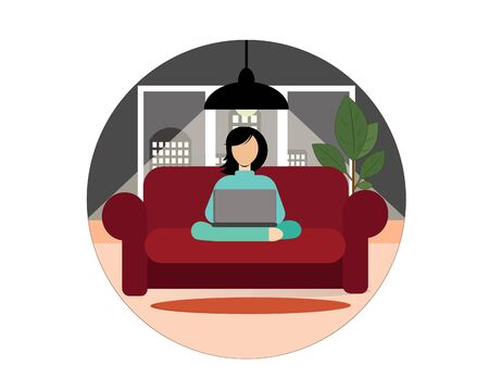 Girl working on a laptop while sitting at home on the couch (sofa). Vector illustration. Icon. Illustration