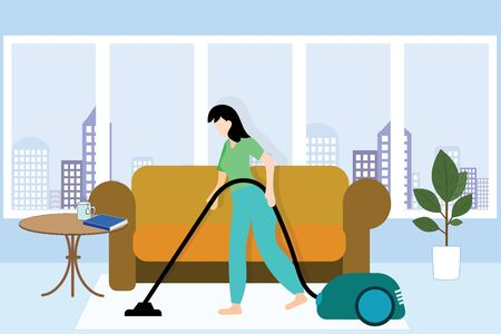 The girl cleans the house with a vacuum cleaner on the background of a window from a big city. Ilustração