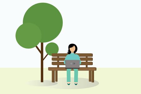 A girl sits on a bench in the park and works on a laptop. Vector illustration.
