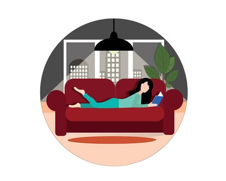 The girl lies on the couch and reads a book. Rear window with a view of the city. Vector image. Ilustração