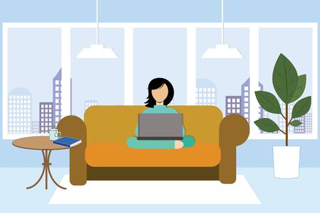 Girl sitting on a sofa and working on a laptop on the background of a window in the city. Vector illustration. Stay at home. Illustration