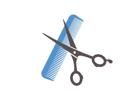 Flat icon scissors and combs isolated on white background. Beauty saloon.