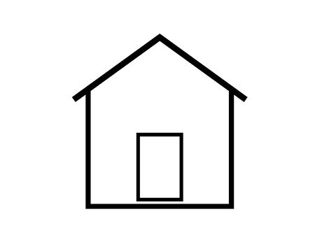 Flat black home (roof and window) icon Vector Illustration Illustration