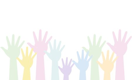 Many hands are pulled up (work, vacancies, help, society). Vector image, icon.