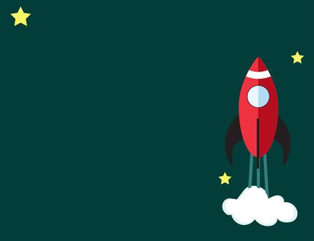 A rocket starts up the sky with stars. Vector image. Business, success. Illustration