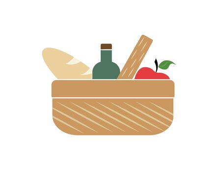 Basket with products (food). Vector flat mobile icon. Web version.