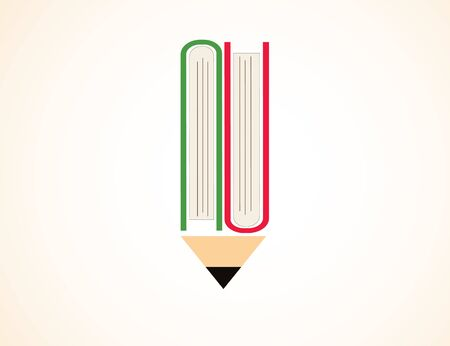 Vector icon of pencil and books. Education, science. Illustration