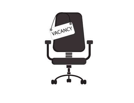 Boss chair and a vacancy sign on a white background. Vector icon. Ilustração
