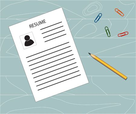 Resume (cv, biography), pencil and paper clip on a blue background. Businesses, staff, training. 向量圖像