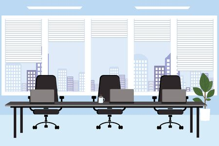 Conference room, meeting. A table and chairs against the background of windows. City background. Vector illustration