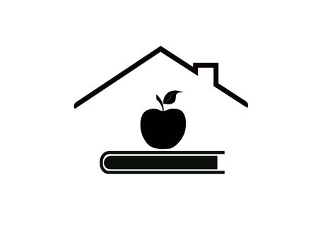 Library, roof, notebook and apple isolated on a white background.