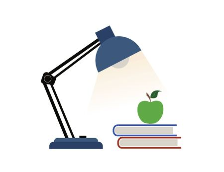 Table lamp, notebook and apple isolated on a white background. Ilustração