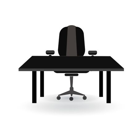 Office icon, table and chair. Boss. Cabinet.