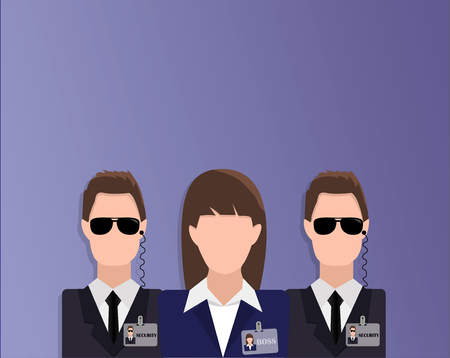 Flat design banner of boss (woman) and security (bodyguards) for website and mobile website with free space for your text. Modern vector illustration concept, isolated.