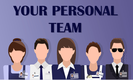 Flat design banner of business team for website and mobile website with text your personal team and free space for your text. Modern vector illustration