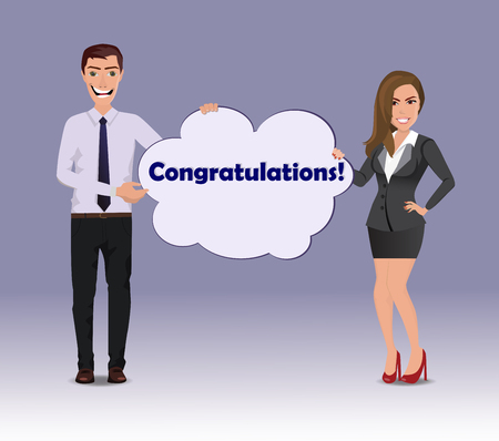 Funny Guy in casual business clothes with beautiful woman in business clothes with speech bubble with text Congratulations