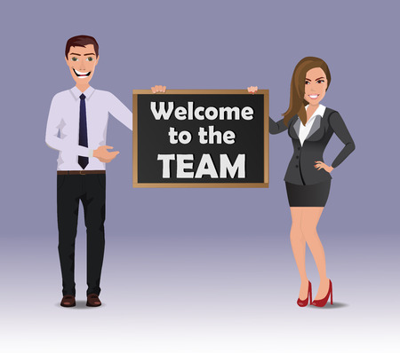 Funny Guy in casual business clothes with beautiful woman in business clothes with chalkboard with text Welcome to the team