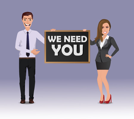 Funny Guy in casual business clothes with beautiful woman in business clothes with chalkboard with text We need you