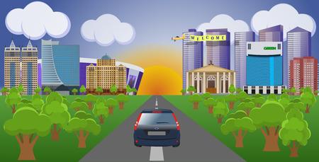 Flat vector cartoon style illustration urban landscape street