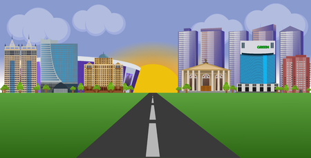 Flat vector cartoon style illustration urban landscape street with skyline city 일러스트