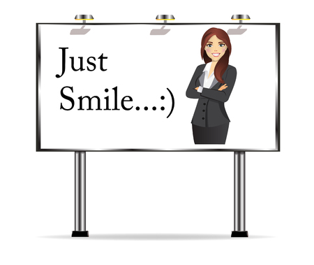 Billboard with text Just smile and image of a beautiful business woman in business clothes Ilustração