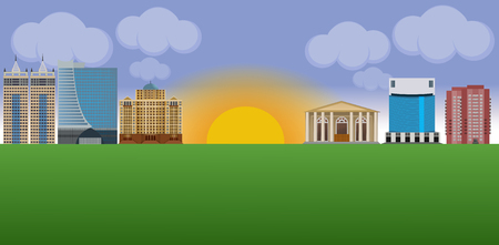 Flat vector cartoon style illustration. Urban landscape street with skyline city office buildings, family houses, theater, library.