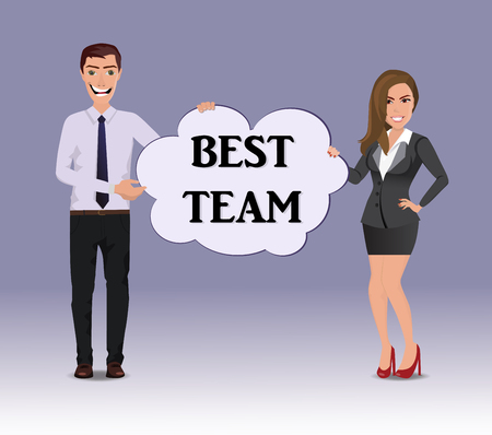 Funny Guy in casual business clothes with beautiful woman in business clothes with speech bubble with text Best choice