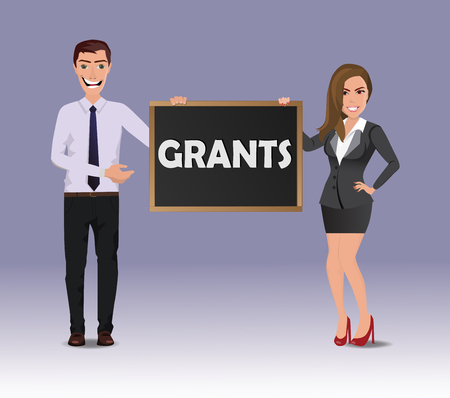 Funny guy in casual business clothes with beautiful woman in business clothes with chalkboard with text Grants.