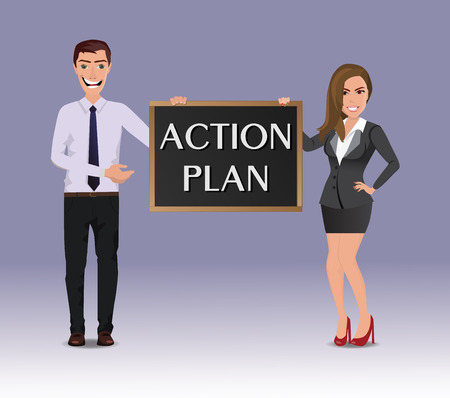 Funny Guy in casual business clothes with beautiful woman in business clothes with chalkboard with text Action plan Ilustração