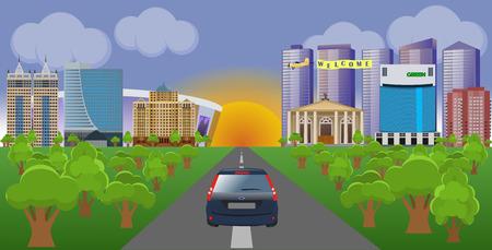 Flat vector cartoon style illustration urban landscape street with skyline city Ilustração