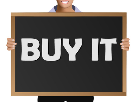 Girl  in casual clothes holding a black chalk board with the text Buy it Ilustração