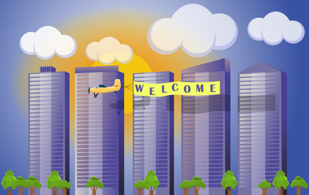 Flat vector cartoon style illustration urban landscape