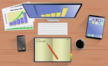 Top view on laptop computer with mobile phone and tablet on office desk. With Business notebook (diary) with text To do list. Modern business workplace Ilustração