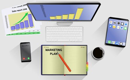 Top view on laptop computer with mobile phone and tablet on office desk. With Business notebook (diary) with text Marketing Plan. Modern business workplace Ilustração