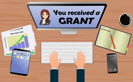 Draufsicht auf Laptop mit Text Sie erhielten ein Stipendium mit Handy und Tablet auf Schreibtisch. Mit Business-Notizbuch (Tagebuch) mit Textaktionsplan. Moderner Geschäftsarbeitsplatz Vektorgrafik