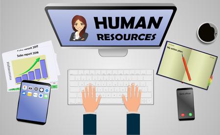 Top view on laptop computer with text Human Resources with mobile phone and tablet on office desk. With Business notebook (diary) with text action plan. Modern business workplace