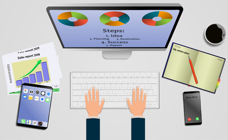 Top view on laptop computer with mobile phone and tablet on office desk. With Business notebook (diary) with text action plan. Modern business workplace