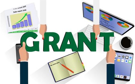 Draufsicht auf Hände mit Buchstaben GRANT über Schreibtisch mit Laptop, Handy, Tablet und anderem Geschäftszubehör Moderner Geschäftsarbeitsplatz Vektorgrafik
