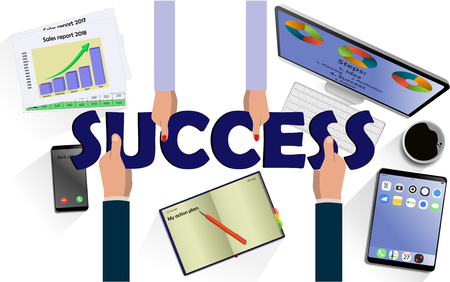 Team work concept. Top view on hands with letters SUCCESS above desk with laptop,mobile, tablet and other business accessories Modern business workplace Ilustração