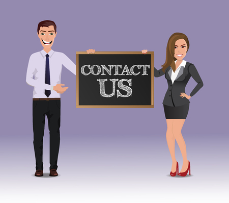 Funny Guy in casual business clothes with beautiful woman in business clothes with chalkboard with text Contact us
