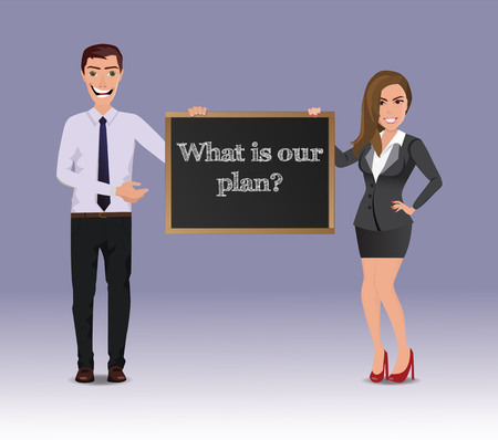 Funny Guy in casual business clothes with beautiful woman in business clothes with chalkboard with text What is our plan Ilustração