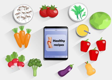 Top view on kitchen table with fruit and vegetables, juice - foods for diet, fitness and healthy eating.  With tablet with text healthy recipes. Flat EPS10 vector with a top view for your design. With space for text.