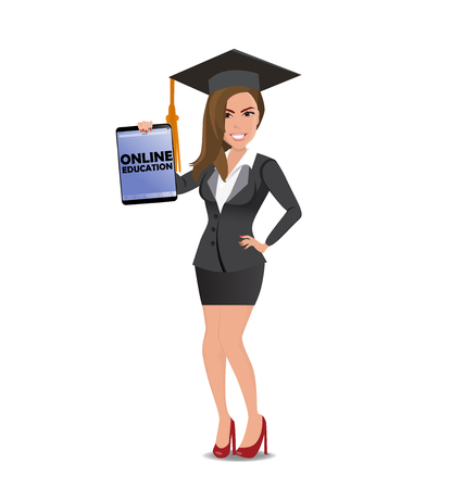 Beautiful woman student in casual business clothes with tablet with text Online Education