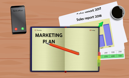 Business notebook (diary) with text Marketing plan. With free blank space for your text. On business desk with reports, mobile and coffee Ilustração