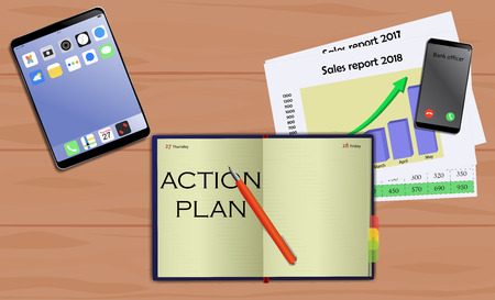 Business notebook (diary) with text Action plan. With free blank space for your text. On business desk with reports, mobile and tablet