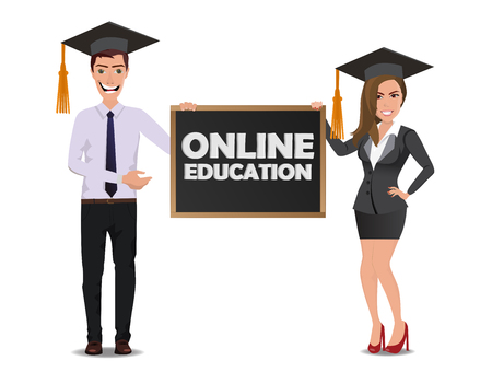 Funny Guy (businessmen or student) in casual business clothes with beautiful woman in business clothes with chalkboard with text Online education Illustration