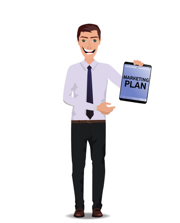 Funny Guy with tablet with text Marketing plan and free blank space for your text