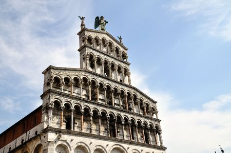 An ancient Church in Lucca, Italy build on the ancient roman forum ot the town