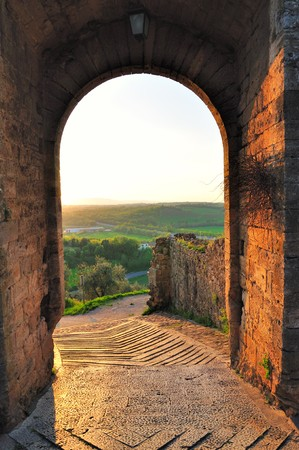 An example of the Tuscan medieval architecture in Tuscany   Stock Photo