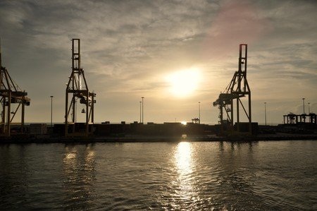 The arrival in a port after a travel by ship... Stock Photo - 8055536